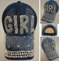 Denim Strapback Hat with Bling Bling [GIRL]